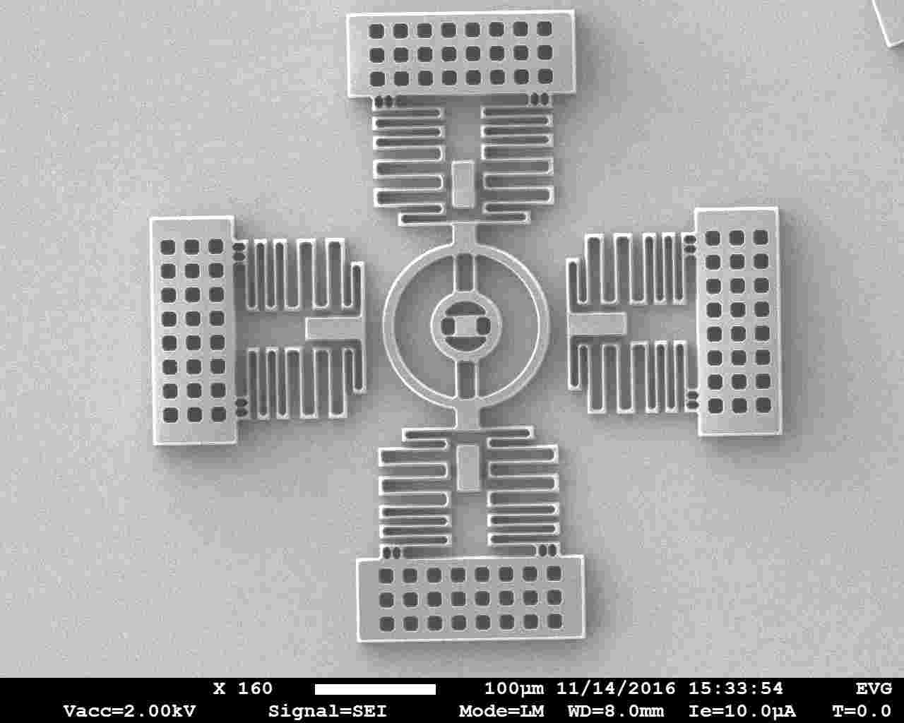 MEMS structures patterned in 20 µm thick resist.